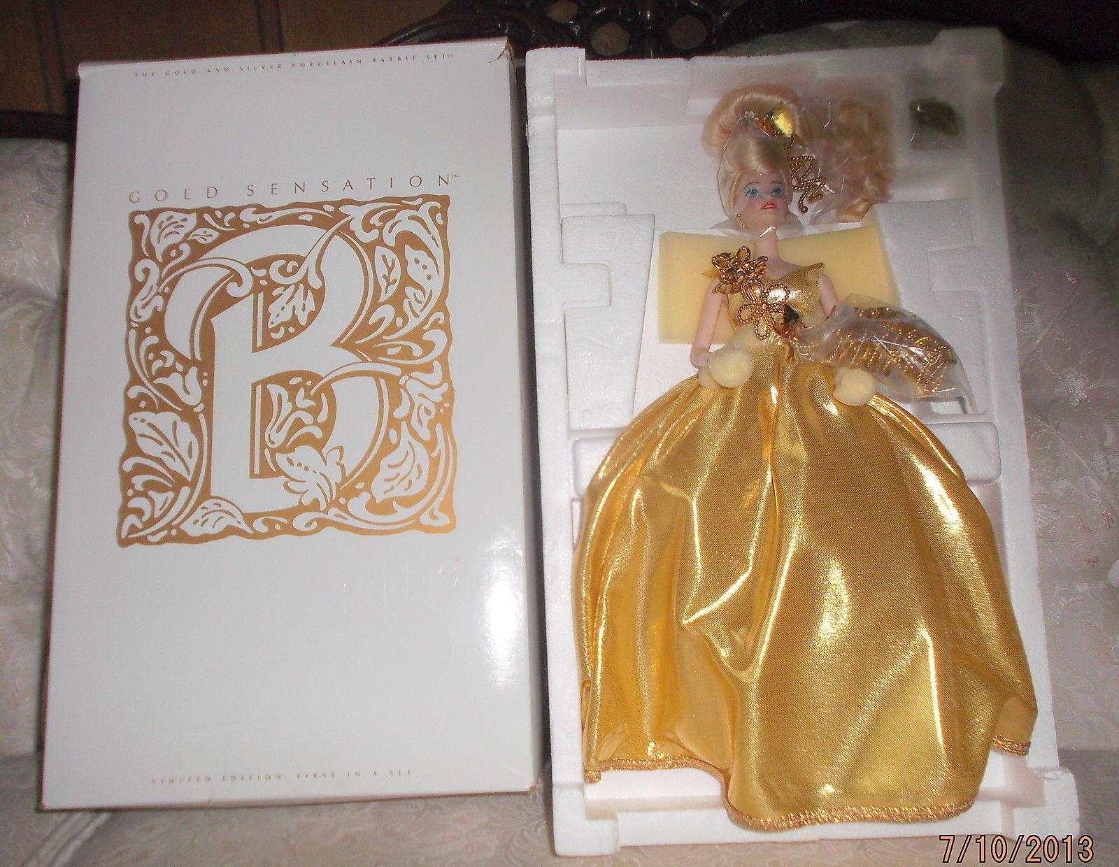 1993 sensación de oro Edición Limitada De Barbie nunca quitado de la Caja de porcelana