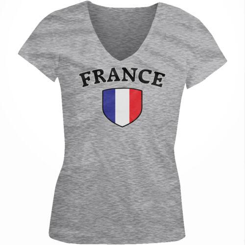 France Flag Crest French Francaise National Country Pride Juniors V-neck T-shirt