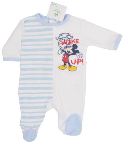 Mickey Mouse velour BODY blanc//rouge ou blanc//bleu rayé