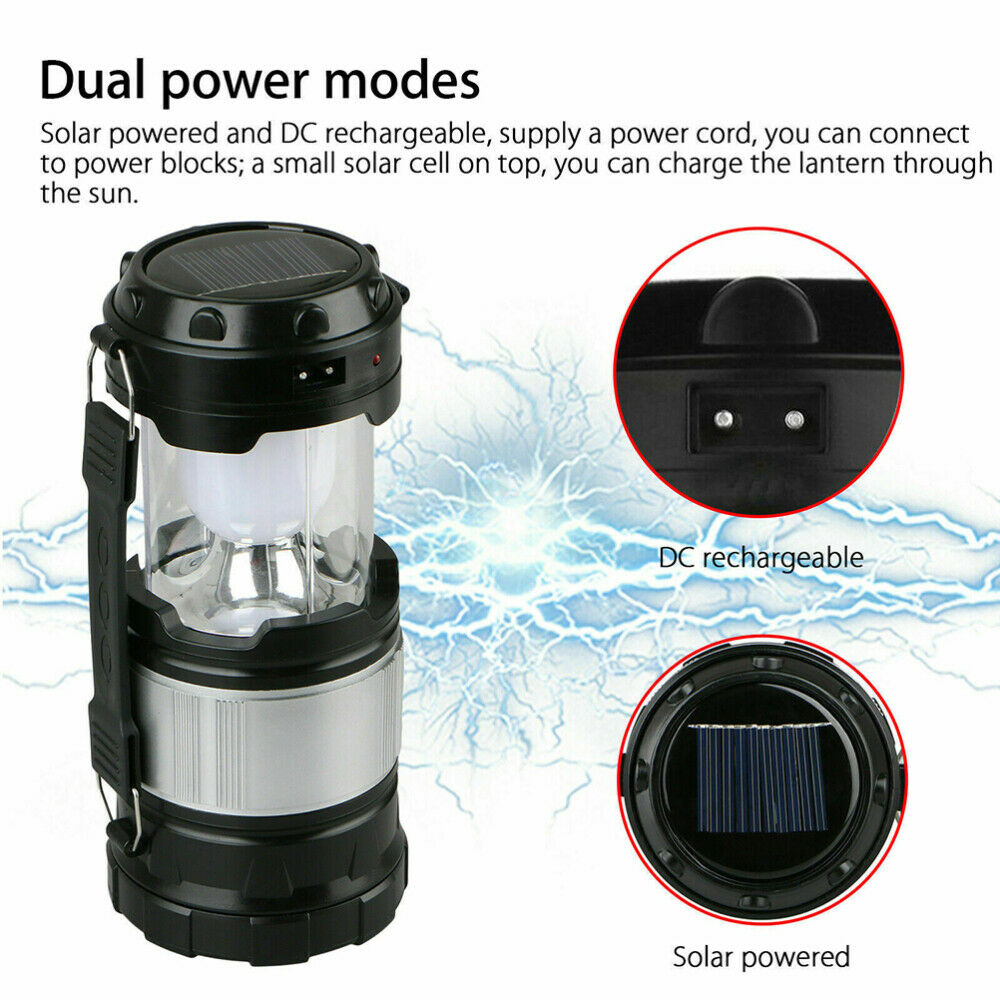 Solar Power Rechargeable LED Flash Light Lightweight Camping Tent Lantern Lamp