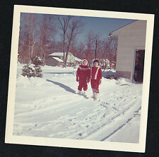 Vintage Photograph Two Little Girls in Red Snowsuits Standing in Snow by House