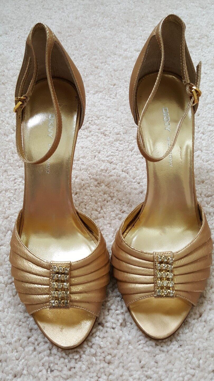 New DKNY Metallic  Pelle Peep-Toe Pumps, Gold, Size 6 1/2