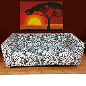 Klippan Black And White Zebra Loveseat Sofa Cover Removable