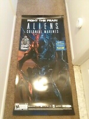 Alert Rare Aliens Colonial Marines Game Promotional Poster Display; Predator Avp Neca Chills And Pains