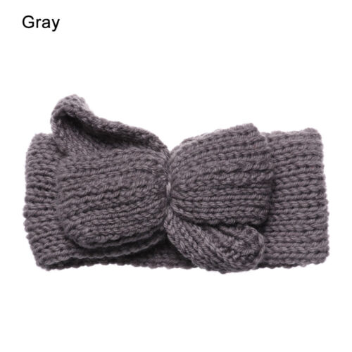 Infant Hat Cute Bow Knot Baby Headwear Knitted Headband Wool Headwrap Pure Color