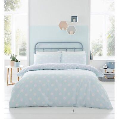 Catherine Lansfield Polka Dot Easy Care Duvet Cover Bedding Set Duck Egg & Grey