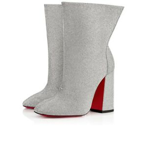 1f546ec98686 Image is loading Christian-Louboutin-Hilconissima-100-Silver-Glitter -Mid-Calf-
