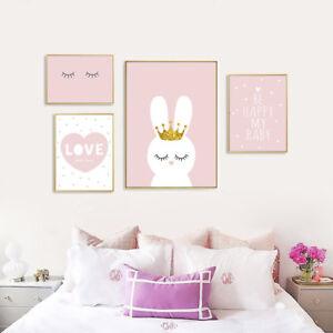 Details About Cartoon Rabbit Nursery Canvas Print Pink Wall Art Poster Baby Room Decor
