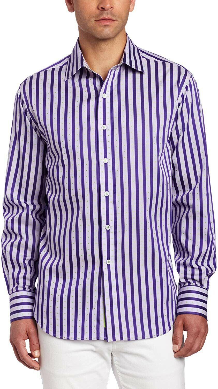 Robert Graham Men's Leonard Long Sleeve Woven Shirt ,purple  Large