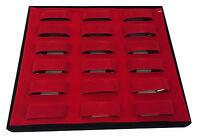 18 Velvet Grids Watch Jewellery Bracelet Display Storage Case Box Tray