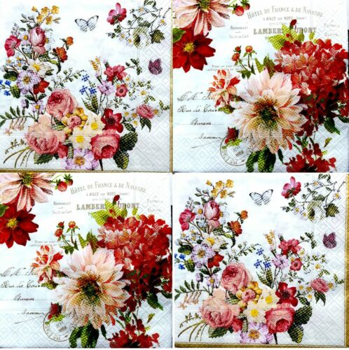 4 Single Vintage Table Paper Napkins Craft Party for Decoupage  FLORAL 1 Art F31
