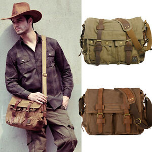 c7ba29d8f534 Men s Vintage Canvas Leather Satchel School Military Shoulder Bag ...