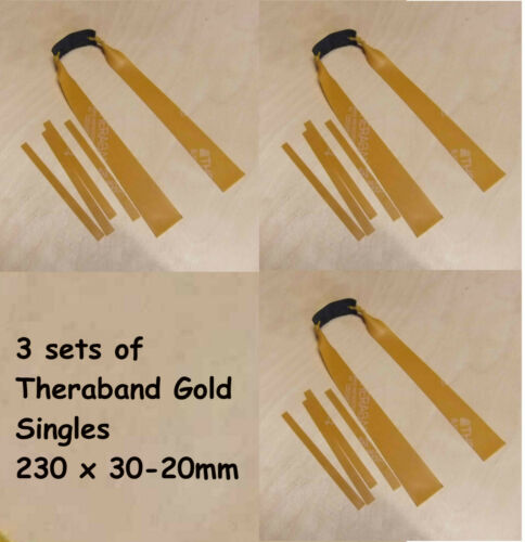 OTT 3x Single Theraband Gold Bands 230mm x 30-20mm Tapered Slingshot Catapult