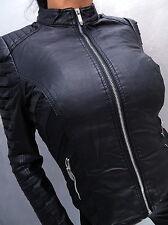 NEU 2017 LEDER OPTIK SCHWARZ LEATHER LOOK Damen Jacke Mantel Q20 Blazer Coat L