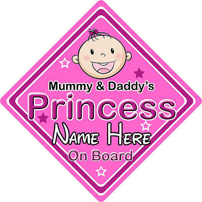 Non Personalised Child//Baby On Board Emoji Car Sign ~ Daddy/'s Princess On Board