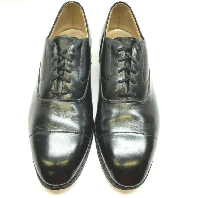 Johnston & Murphy Mens 10 D/B Aristocraft Cap Toe Oxfords Black Leather USA Made