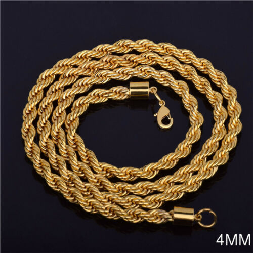 Women Men 18K Gold Filled 4MM Link Chain Flash Twisted Necklace Jewelry Gift