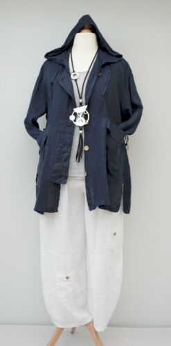Jacket Navy Lommer Long Bust Up 50 Lagenovers Linen Oversized Hooded To 2 6xTUY0q