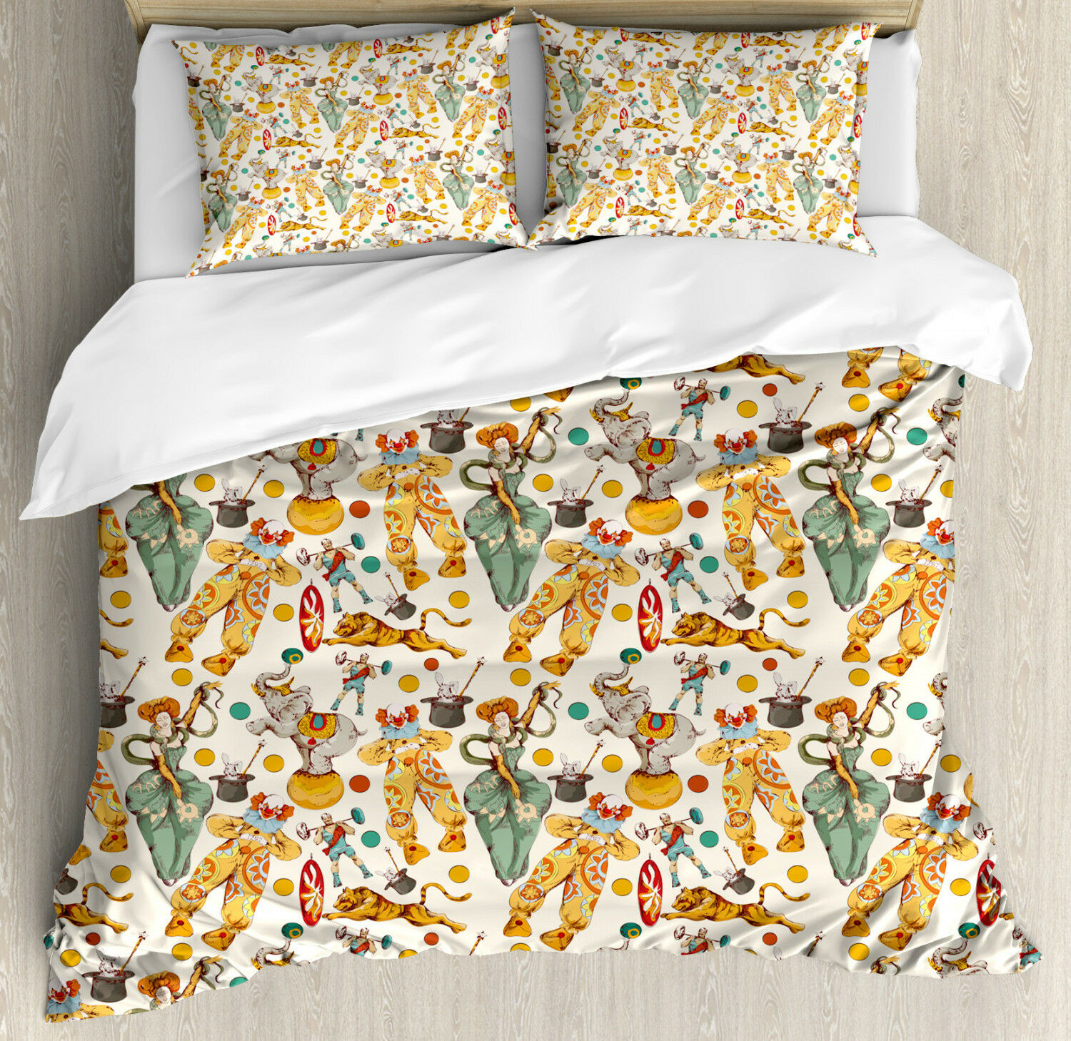 Vintage Duvet Cover Set with Pillow Shams Doodle Circus and Clown Print
