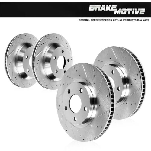 Front /& Rear Drill And Slot Brake Rotors For 2009-2013 Acura TSX Honda Accord