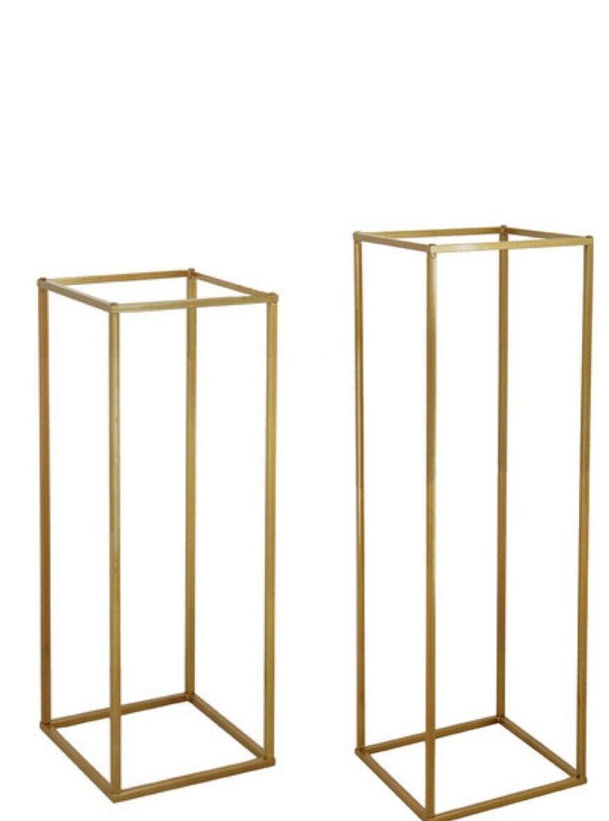 Set of 2 Gold Metal Flower stand Wedding Centrepiece 100cm & 80cm