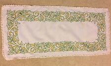 Vintage mid century French embroidered crochet cotton table centre runner cloth