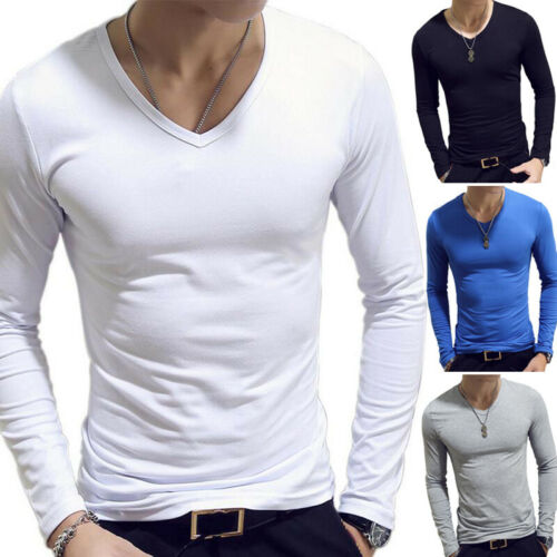 Men Casual V-Neck Long Sleeve Tops Pullover Blouse Solid T-shirt Basic Tee