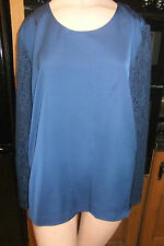 navy blue satin and lace top sz 20 nwt