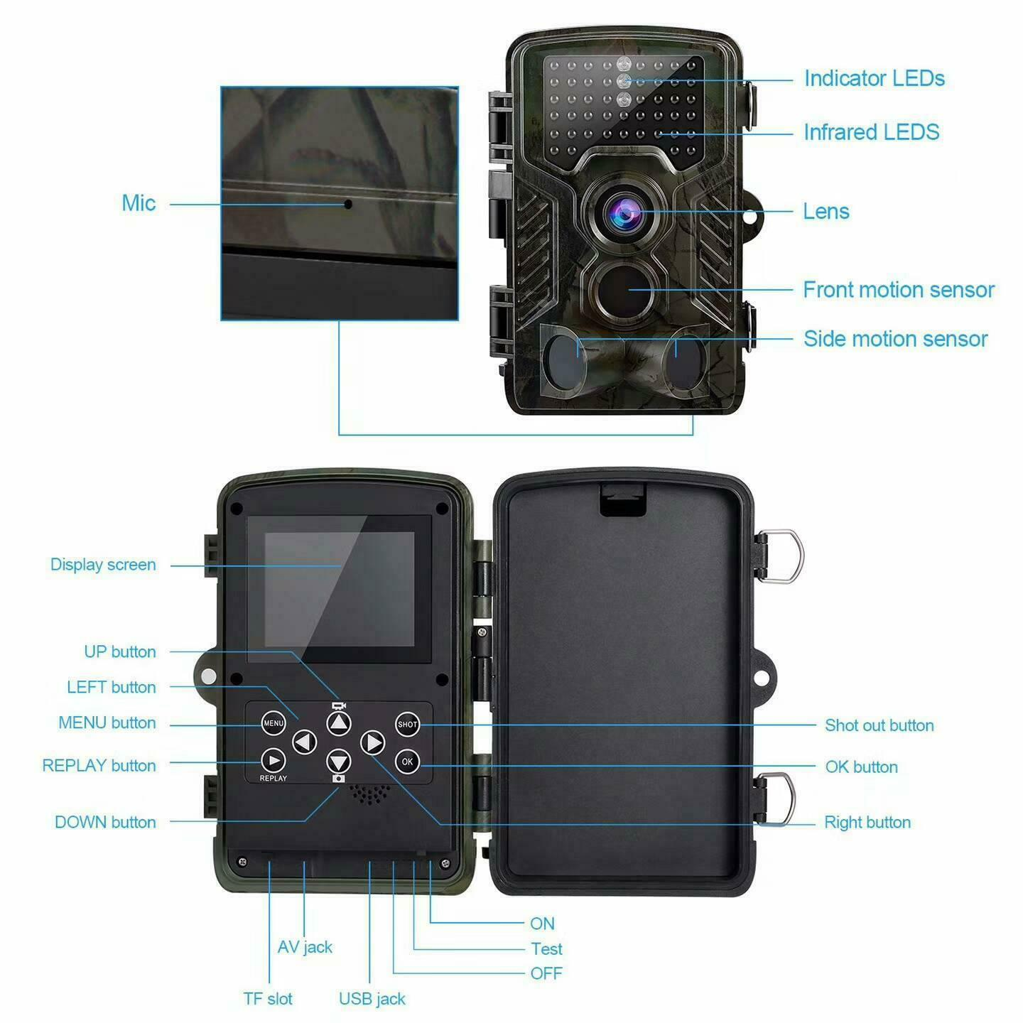 IR 8MP Hunting Camera 2.31 TFT LCD Display 1080P PIR  sensing angle TF card slot  best prices