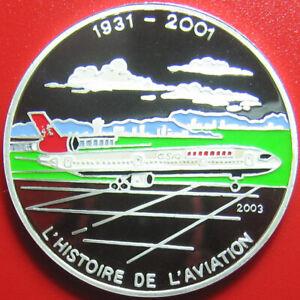 2003-CONGO-1000-FRANCS-SILVER-PROOF-COLORED-MCDONNELL-DOUGLAS-MD-11-AIR-PLANE