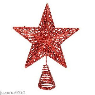GISELA GRAHAM RED GLITTER STAR CHRISTMAS XMAS YULE TREE TOPPER DECORATION GIFT