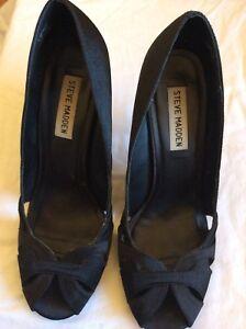 6cc198ea8d9 Details about Steve Madden Womens Size 7.5 Black Satin Debon Style 3.3 Inch  Stiletto Peep Toe