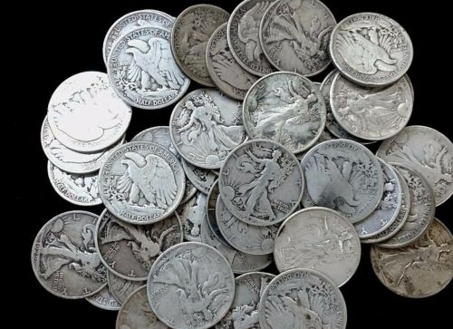Lot of 6 Walking Liberty Half Dollars 90/% Silver Coins All Full Dates 1916-1947
