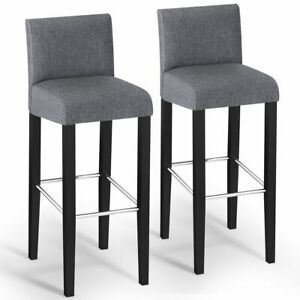 Incredible Details About Set Of 2 Fabric Bar Stool Pub Chair Bar Height Padded Seat Solid Wood Legs Gray Machost Co Dining Chair Design Ideas Machostcouk