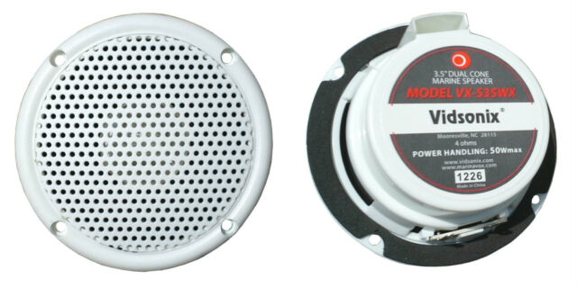 "3.5"" WHT Motorcycle Boat Spa Hot Tub Golf Cart Marine Speakers VX-S35WX Vidsonix"