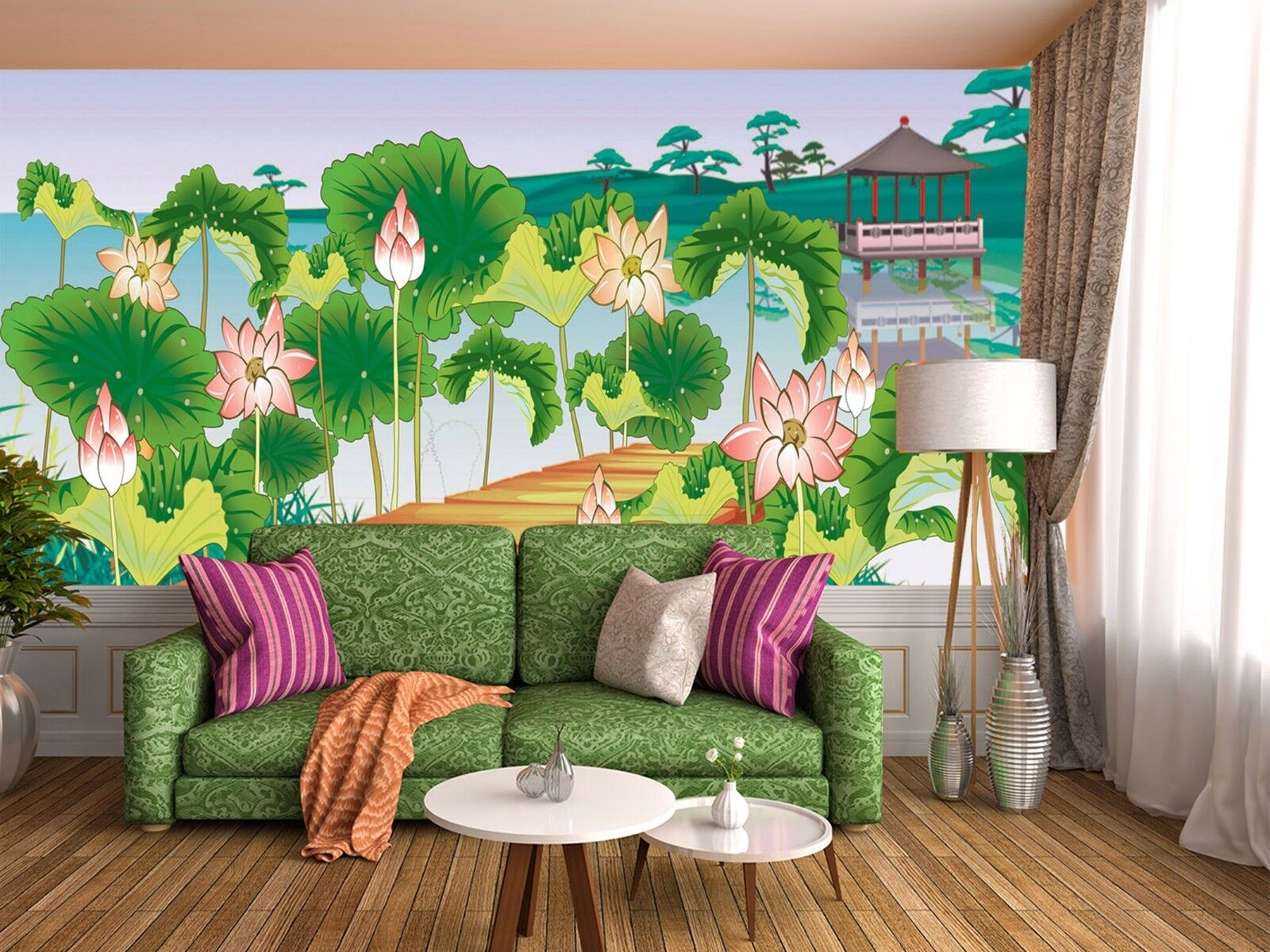3D Watercolor lotus Wall Paper Print Decal Wall Deco Indoor wall Mural