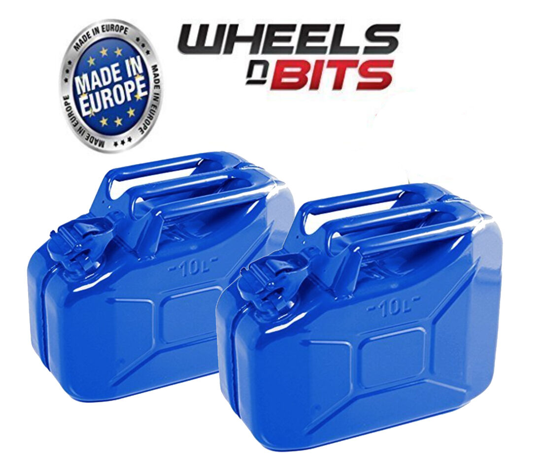 2X  Alta Calidad Metal Energía Recubierto dentro de un Out  blue Jerry Can 10L  enjoying your shopping