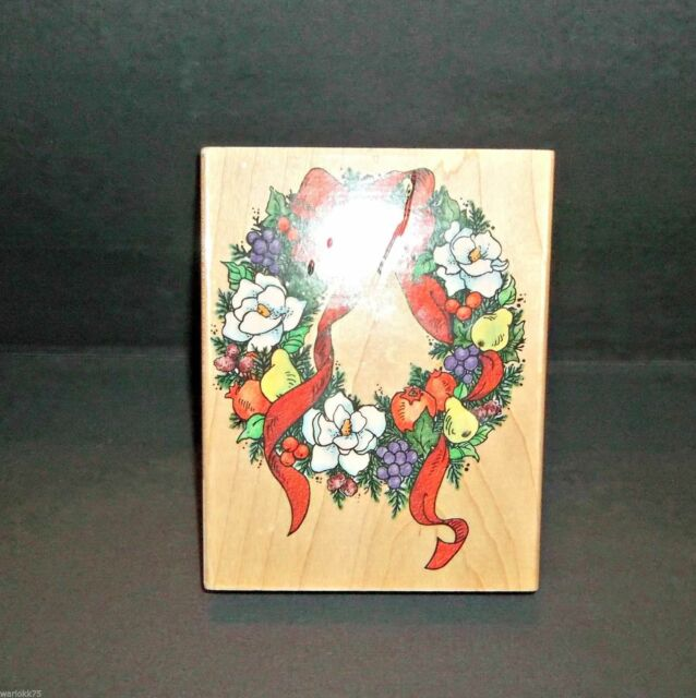 """Magnolia Wreath Rubber Stamp 3"""" x 4"""" Christmas Holiday Stampendous 1997 Made USA"""