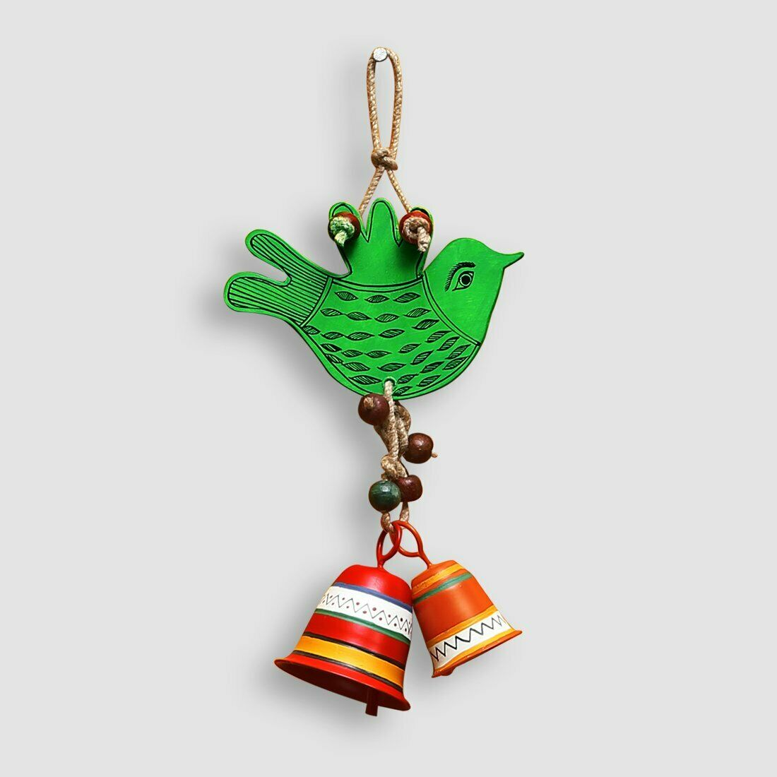 Wind Chime The Singing Bird' Hand-Painted Decorative Hanging In Wood & Metal