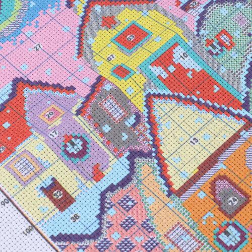 Kreuzstich Stickerei DIY Handarbeit Stickpackung Set Schnee Landschaft,