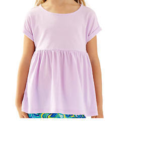 NEW Lilly Pulitzer Kids ZOEY Knit TOP T Shirt Iced Lilac Purple Short Sleeve  XL
