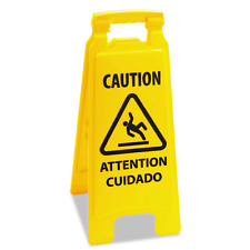 Boardwalk Caution Safety Sign For Wet Floors 2 Sided Plastic Yellow