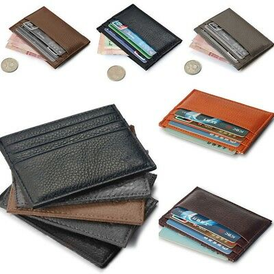 Men/'s Womens Real Leather Small Id Credit Card Wallet Holder Slim Pocket Case US