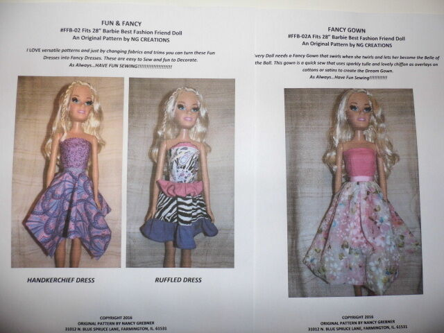 NG Creations Sewing Pattern 40 Fits 408 Best Fashion Friend Barbie Gorgeous Barbie Doll Patterns