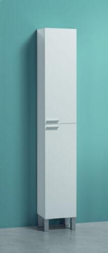 Koncept Tall Narrow Bathroom Cupboard Cabinet Storage Furniture Unit White Gloss