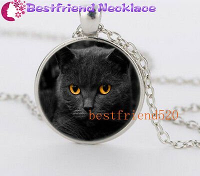 Black cat And Yellow Eye Glass Silver Necklace for men woman Jewelry#YZ48