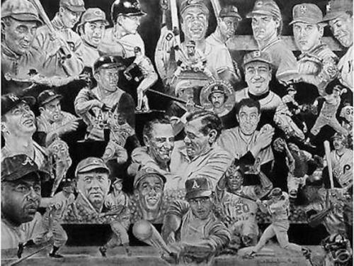 WALL OF FAME Baseball Stars Robert Stephen Simon Lithograph Signed /& Numbered