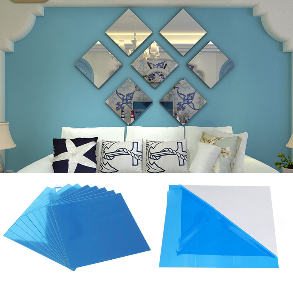 3Pcs Square Mirror Tile Wall Stickers 3D Decal Mosaic Home Garden Decors DIY