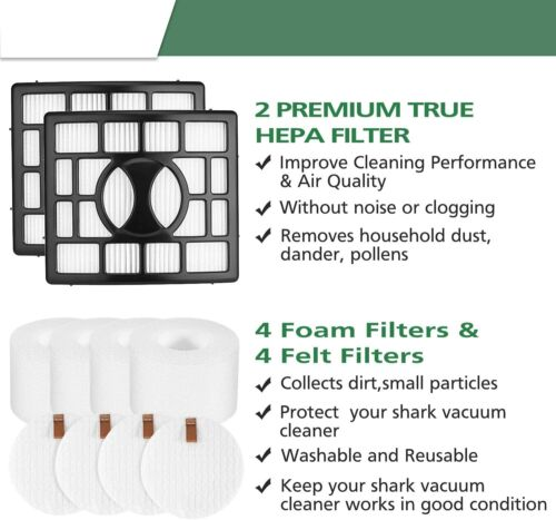 4 Foam Felt Filters For Shark Rotator NV680 NV683 NV800 NV801 UV810 2 HEPA