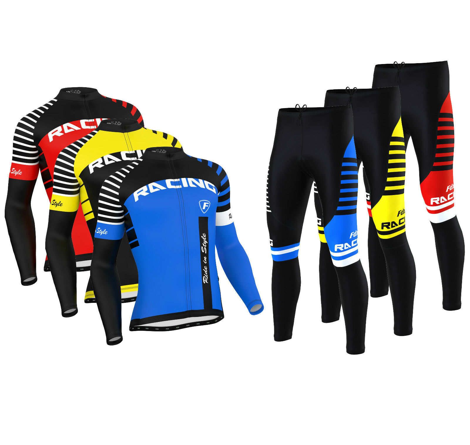 FDX  Herren Blaze Cycling Jersey Cold Wear Thermal Top + Cycling Tights Pants  Set